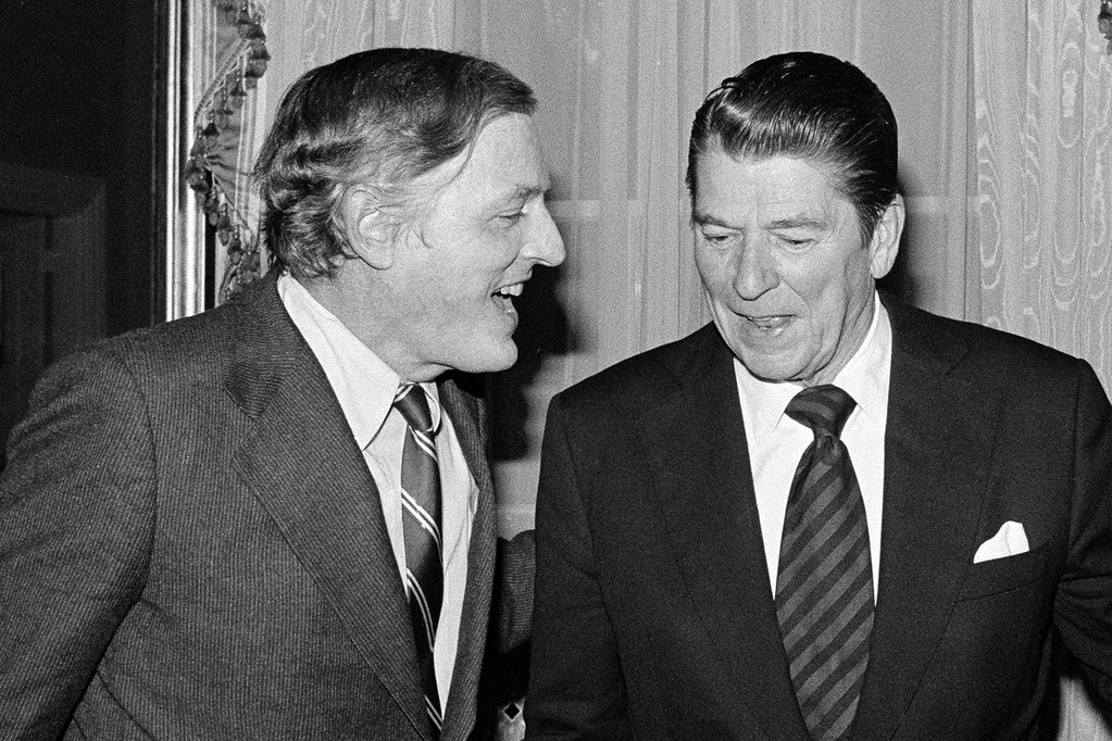 **FILE**William F. Buckley Jr. left, talks with former California Gov. Ronald Reagan at the South Carolina Governor's Mansion in Columbia S.C., on Jan. 13,1978, after the two debated the Panama Canal Treaty. Buckley Jr., the erudite Ivy Leaguer and conservative herald who showered huge and scornful words on liberalism as he observed, abetted and cheered on the right's post-World War II rise from the fringes to the White House, died Wednesday,Feb.27, 2008. He was 82.(AP Photo/Lou Krasky)