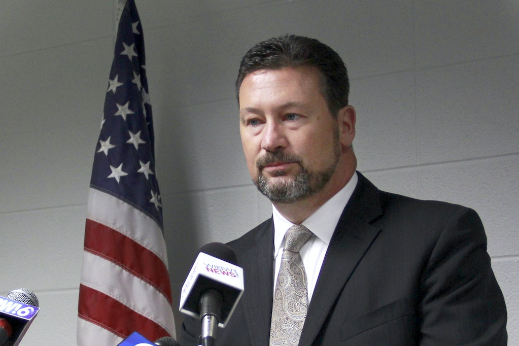 In this Sept. 16, 2016, photo Douglas County District Attorney Charles Branson speaks at a news conference in Lawrence, Kansas. Prosecutors in Lawrence have dropped false reporting charges against two more women who reported being sexually assaulted in Lawrence, as questions swirl around the handling of such investigations in the college town. Branson says he hopes publicity surrounding a third case he dropped in October won't deter victims from coming forward. (Conrad Swanson/Lawrence Journal-World)