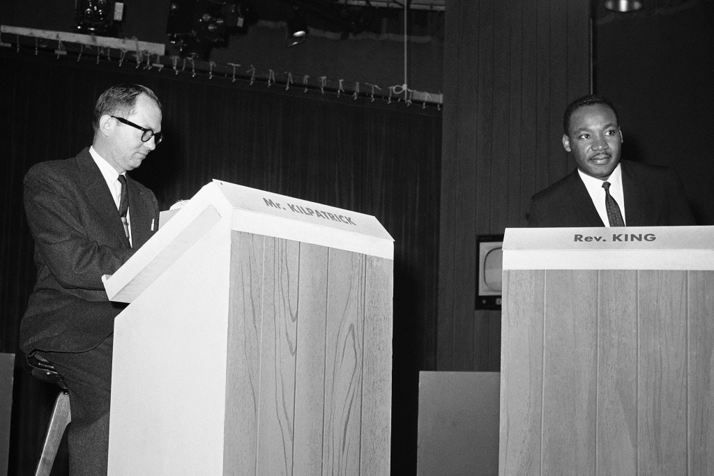 "James J. Kilpatrick, left, an editor of the Richmond, Va., News-Leader, appears with integration leader Martin Luther King Jr., before their debate on ""Are Sit-In Strikes Justifiable"" which was televised  November 26, 1960 from NBC's New York studios.       (AP Photo)"