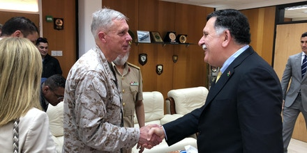 Gen. Thomas Waldhauser, Commander of U.S. Africa Command met with Libyan Prime Minister Fayez al-Sarraj in Tripoli on May 31, 2018.