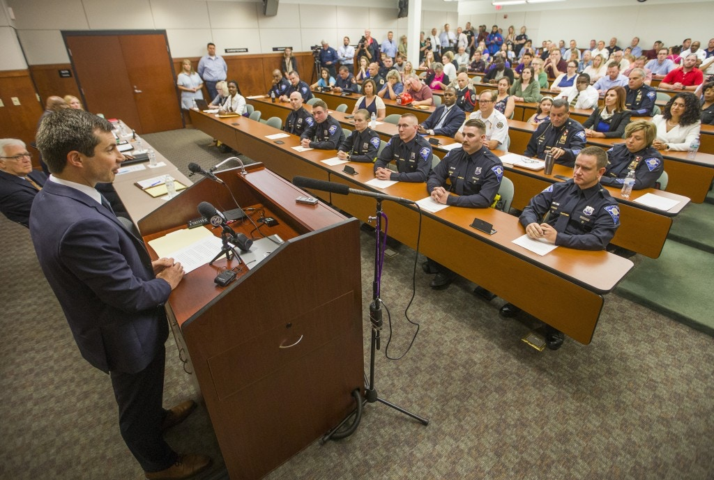 Democratic Presidential candidate and South Bend, Indiana Mayor Pete Buttigieg speaks to newly sworn in police officers on Wednesday, June 19, 2019, at the South Bend Police Department. Buttigieg is telling officers after a fatal police shooting that they must activate their body cameras during any interaction with civilians. (Robert Franklin/South Bend Tribune via AP)