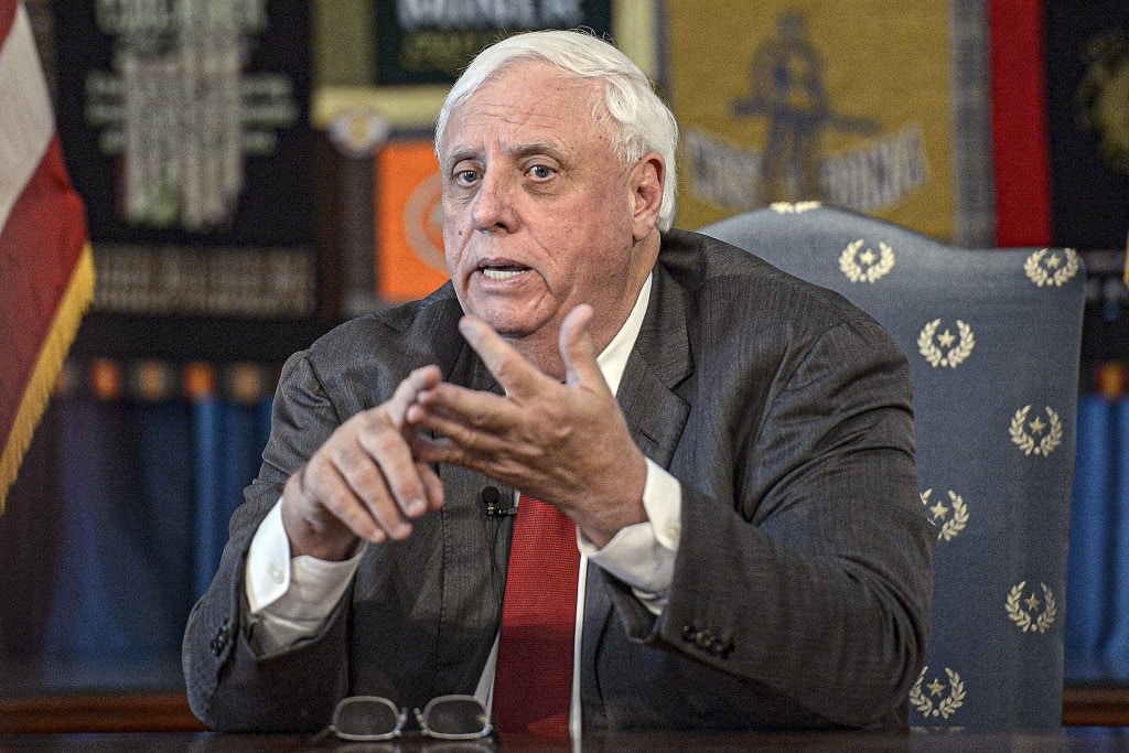 West Virginia Gov. Jim Justice speaks during a press conference at the State Capitol in Charleston, W.Va. on March 12, 2020.