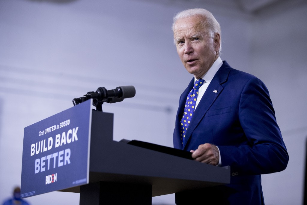 "Democratic presidential candidate former Vice President Joe Biden speaks at a campaign event at the William ""Hicks"" Anderson Community Center in Wilmington, Del. on July 28, 2020."