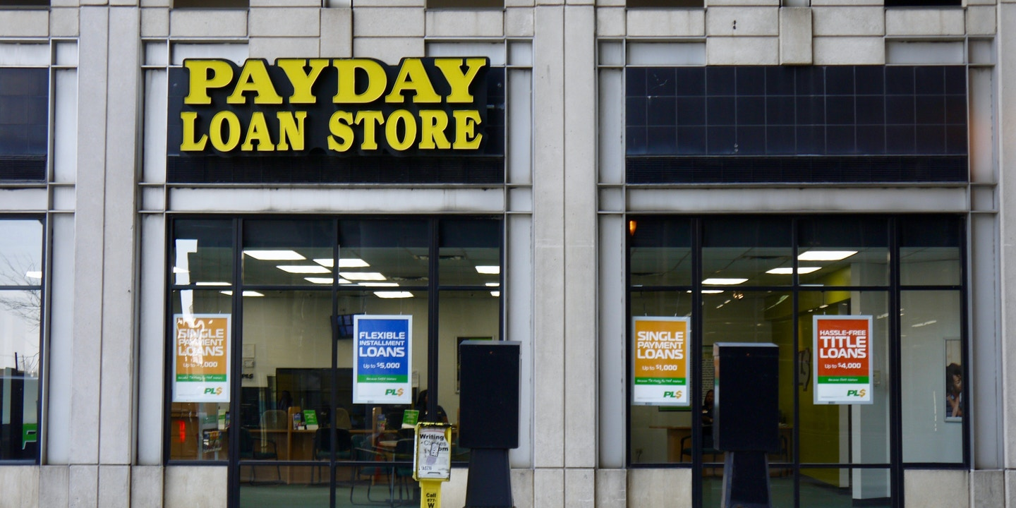 Exterior view of a Payday Loan Store in downtown Chicago, Illinois, 2019.