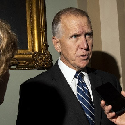 UNITED STATES - NOVEMBER 5: Sen. Thom Tillis, R-N.C., speaks with reporters on his way to the Senate Republicans lunch on Capitol Hill on Tuesday Nov. 5, 2019. (Photo by Caroline Brehman/CQ-Roll Call, Inc via Getty Images)