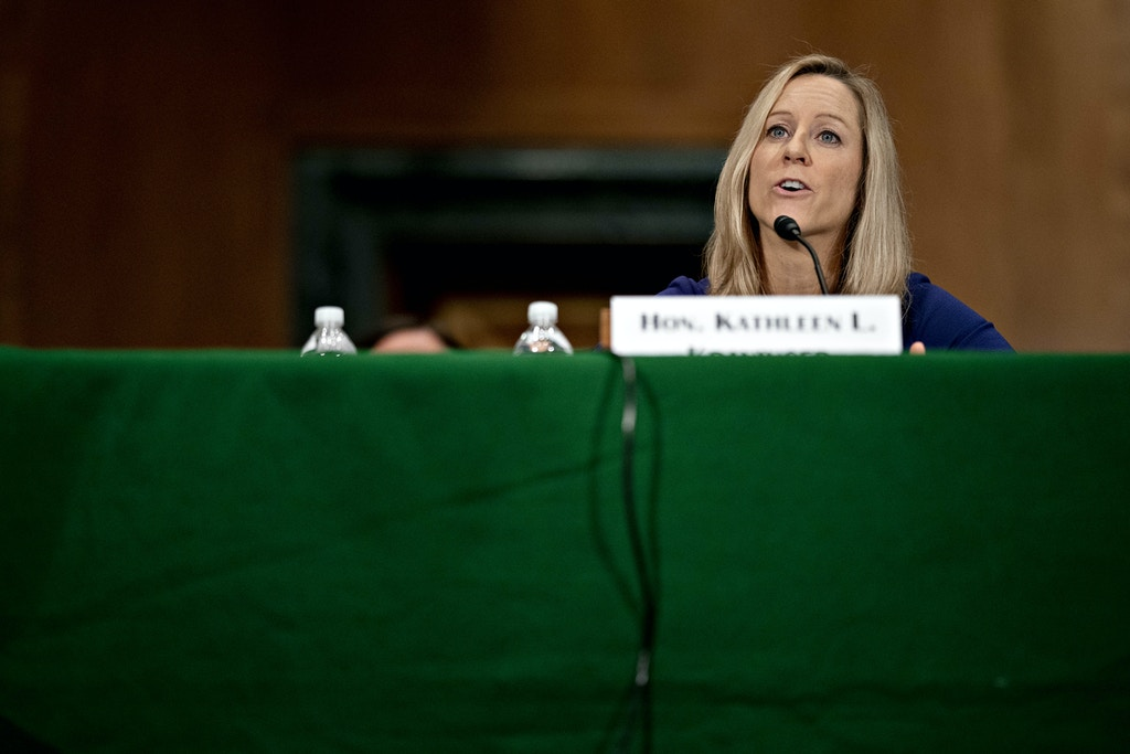 Kathy Kraninger, director of the Consumer Financial Protection Bureau (CFPB), speaks during a Senate Banking Committee hearing in Washington, D.C., U.S., on Tuesday, March 10, 2020. After hearing arguments this month, the Supreme Court seemed inclined to give the president more power over the Consumer Financial Protection Bureau as the justices considered whether Congress went too far in trying to insulate the agency from political pressure. Photographer: Andrew Harrer/Bloomberg via Getty Images