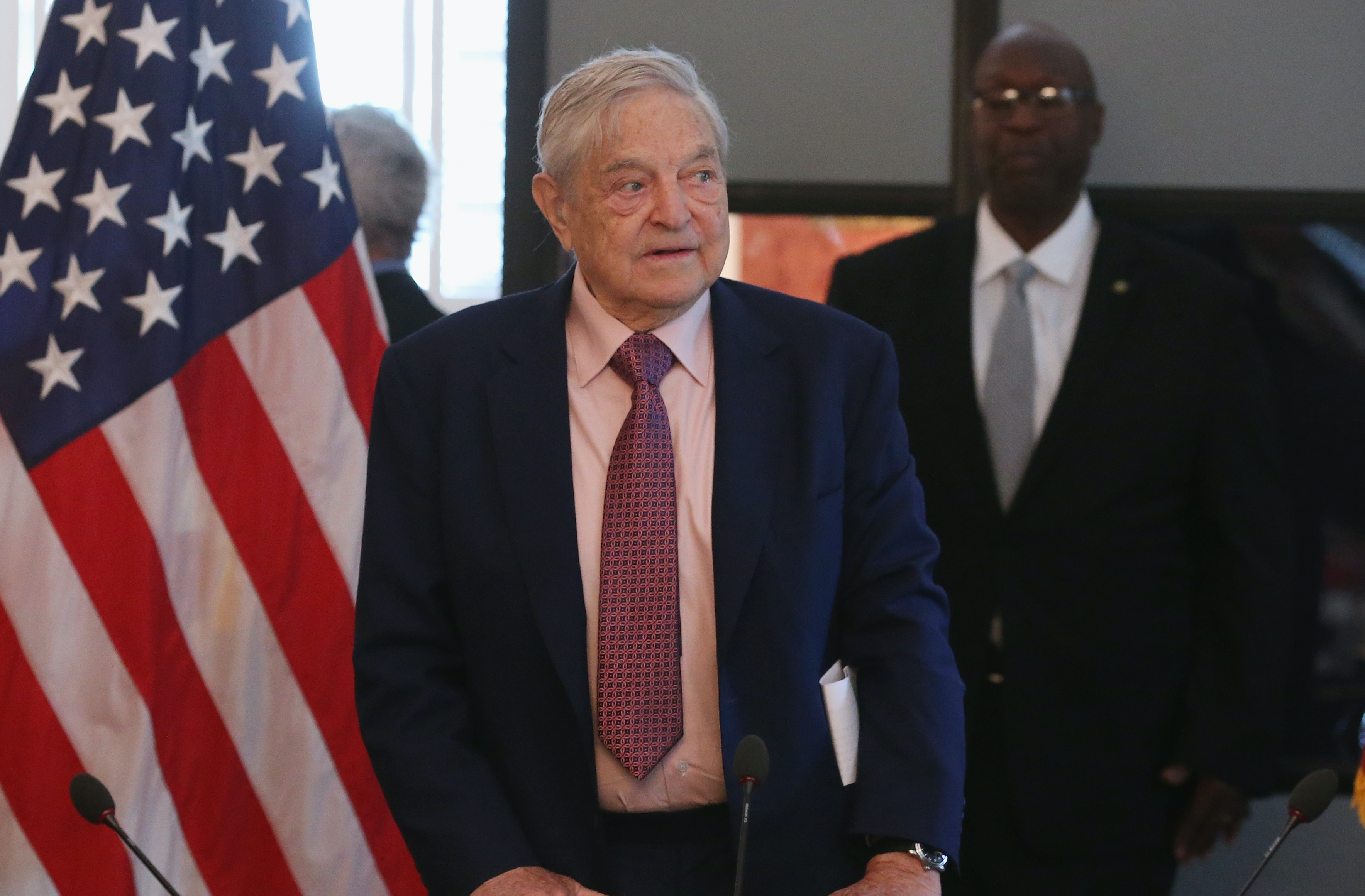 Billionaire George Soros attends a discussion with Commerce Secretary Penny Pritzker and Tunisian President Beji Caid Essebsi and a group of American business leaders, at the Blair House May 20, 2015 in Washington, DC.