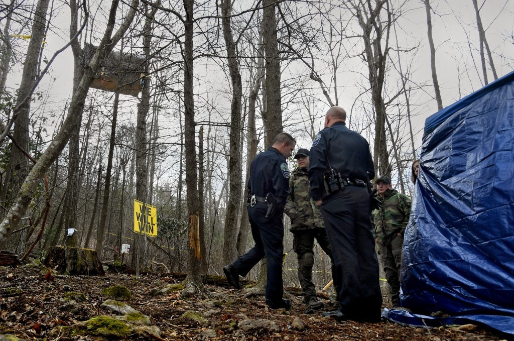 Both state and local law enforcement are manning the anti-pipeline protest sites to make sure that no attempts are made to give them food or water. Two anti-pipeline protesters are staying in two separate trees high above the ground just outside Roanoke, Virginia to protest the Mountain Valley Pipeline Project on April 2, 2018.