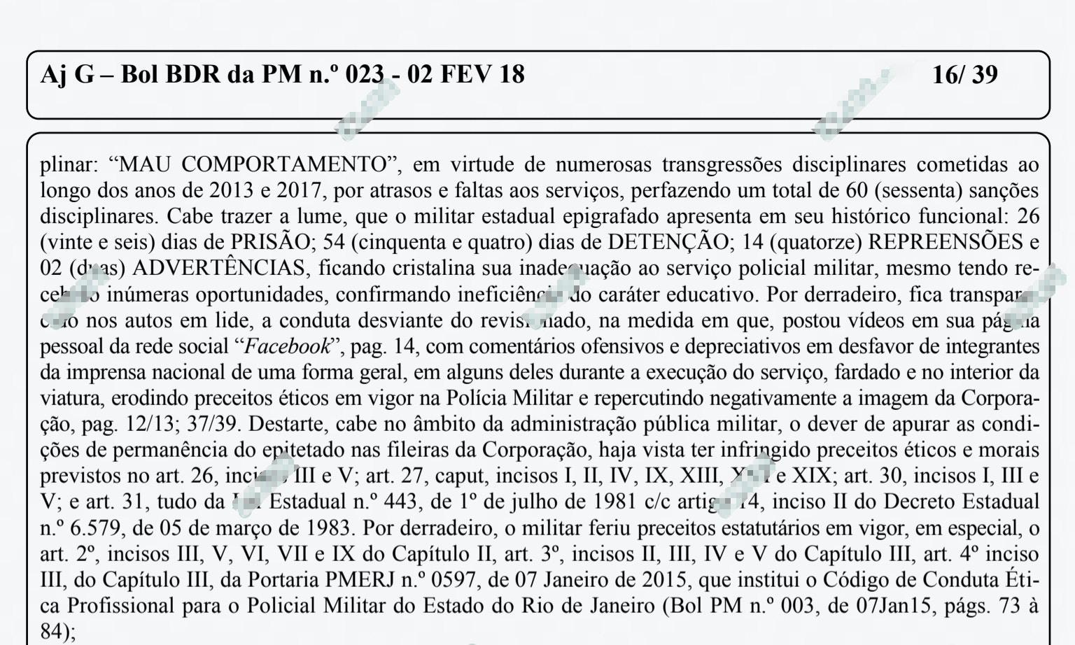 """O """"mau comportamento"""" de Silveira foi detalhado na pg 16 do boletim nº 23 da PM do Rio."""