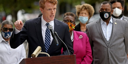 BOSTON, MA. - AUGUST 17  U.S. Representative Joe Kennedy III Democrat running for US Senate for Massachusetts speaks during a press conference with black leaders in front of the Federal Building on August 17, 2020 in Boston, Massachusetts.   (Staff Photo By Matt Stone/ MediaNews Group/Boston Herald)