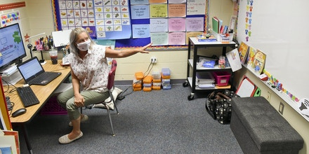 Spring Township, PA - August 21: Lesley Douventzidis, a 2nd Grade Remote teacher works on getting ready for the start of school in her specially setup classroom with a camera and large monitor so that she can teach online. At Shiloh Hills Elementary School, part of the Wilson School District in Spring Township, PA Friday afternoon August 21, 2020 where school teachers and administrators are preparing to open on August 26th for the school year after being closed since spring as a precaution against the COVID-19 / Coronavirus outbreak. (Photo by Ben Hasty/MediaNews Group/Reading Eagle via Getty Images)