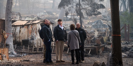 Trump visits Skyway Villa Mobile Home Park during his visit of the Camp Fire in Paradise.