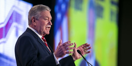 Harold Schaitberger, chairman of the International Association of Fire Fighters (IAFF), speaks during IAFF Legislative Conference in Washington, D.C., on March 12, 2019.