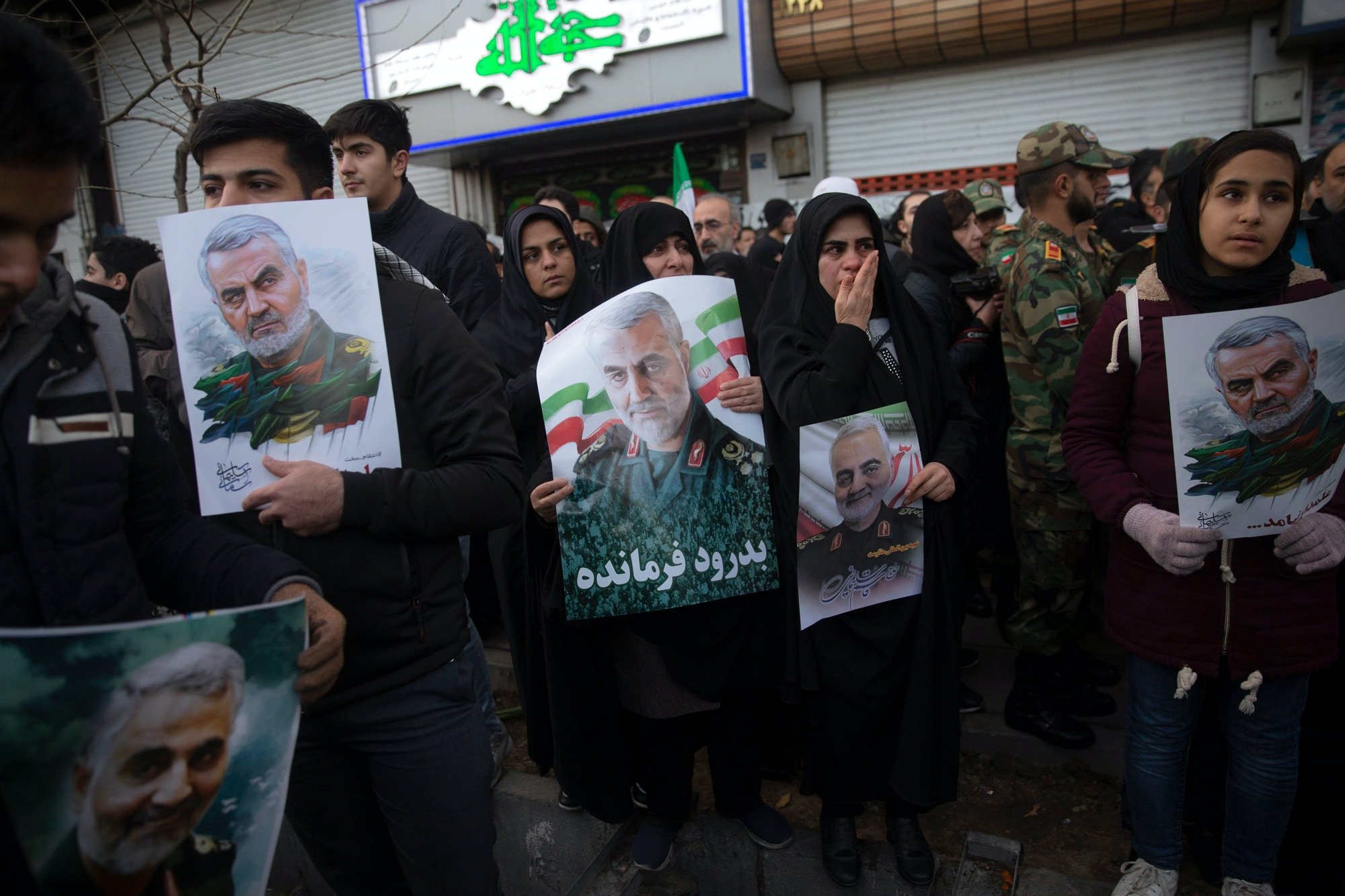 Mourners attend a funeral ceremony of Iranian Major General Qassem Soleimani and others who were killed in Iraq by a U.S. drone strike on January 6, 2020 in Tehran, Iran.