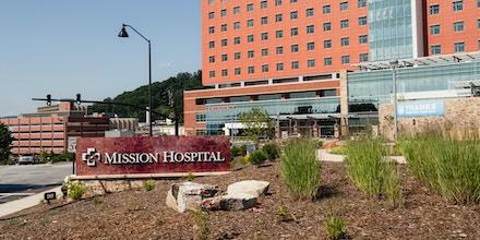 Signage is displayed outside of Mission Hospital in Asheville, North Carolina, U.S., on Wednesday, July 15 2020.