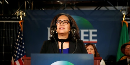 Marilyn Strickland speaks during a news conference.