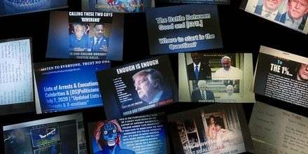 Glossy prints of images depicting memes popularized by supporters of the QAnon conspiracy theory.