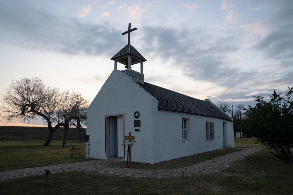 La Lomita Chapel as seen in Mission, Tex., on Feb. 14, 2020. The chapel was initially going to be on the south side of Trump's border wall, but for now it is protected.Verónica G. Cárdenas for The Intercept