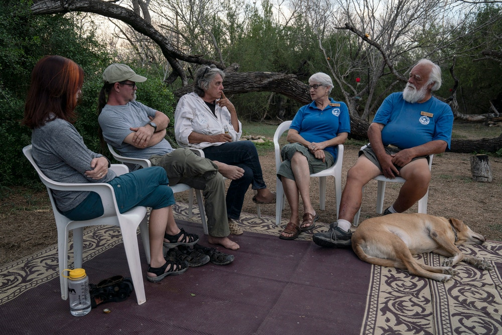 From left, Stefanie Herweck, Scott Nicol, Betty Perez, Lois Hughes and Merle Ihne, talk during an interview with The Intercept at the Salineño Wildlife Refuge in Salineño, Tex., on Feb. 15, 2020. Verónica G. Cárdenas for The Intercept