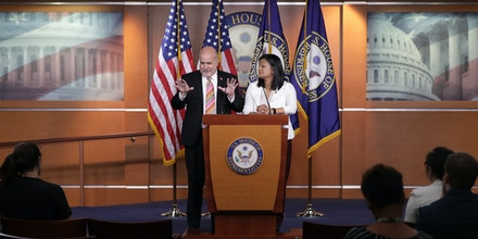 WASHINGTON, DC - MAY 17: Congressional Progressive Caucus co-chairs Rep. Mark Pocan (D-WI) (L) and Rep. Pramila Jayapal (D-WA) hold a news conference in the U.S. Capitol Visitors Center May 17, 2019 in Washington, DC. The Democratic members of Congress talked about prescription drug prices, the Equality Act and other topics. (Photo by Chip Somodevilla/Getty Images)