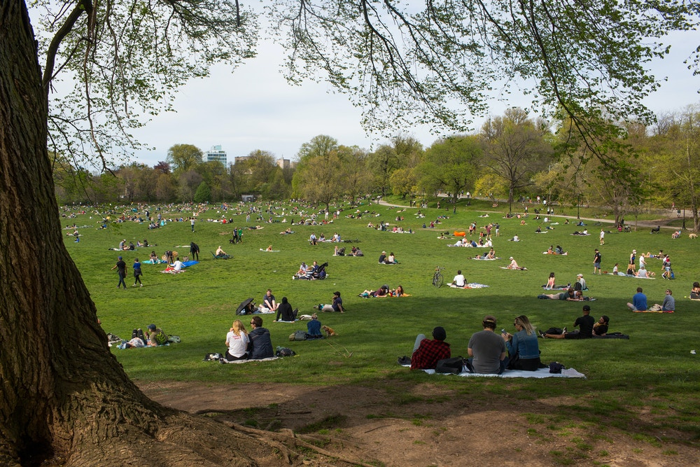 BROOKLYN, NY - MAY 2: After weeks of rain and self-isolation during the COVID-19 pandemic, New Yorkers come outside and attempt to practice social distancing on a warm weekend on May 2, 2020 in Prospect Park in Brooklyn, New York. (Photo by Andrew Lichtenstein/Corbis via Getty Images)