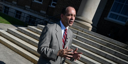 UNITED STATES - SEPTEMBER 8: Bob Good, Republican candidate for Virginias 5th Congressional District, speaks to members of the media at the end of a rally at the Bedford County Courthouse in Bedford, Va., on Tuesday, Sept. 8, 2020. (Photo by Caroline Brehman/CQ-Roll Call, Inc via Getty Images)