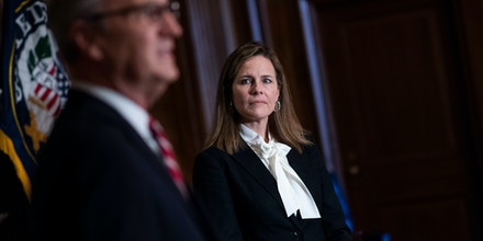 Supreme Court nominee Amy Coney Barrett and Sen. Kevin Cramer, R-N.D., conduct a photo op in the U.S. Capitol as Coney Barrett met with Senators throughout the day on, October 01, 2020.