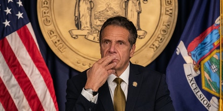 Andrew Cuomo, governor of New York, pauses while speaking during a news conference in New York, U.S., on Monday, Oct. 5, 2020. Governor Cuomo said New York City public and private schools in viral hot spots must close Tuesday, and he threatened to shut religious institutions if members dont follow rules about masks and social distancing. Photographer: Jeenah Moon/Bloomberg via Getty Images