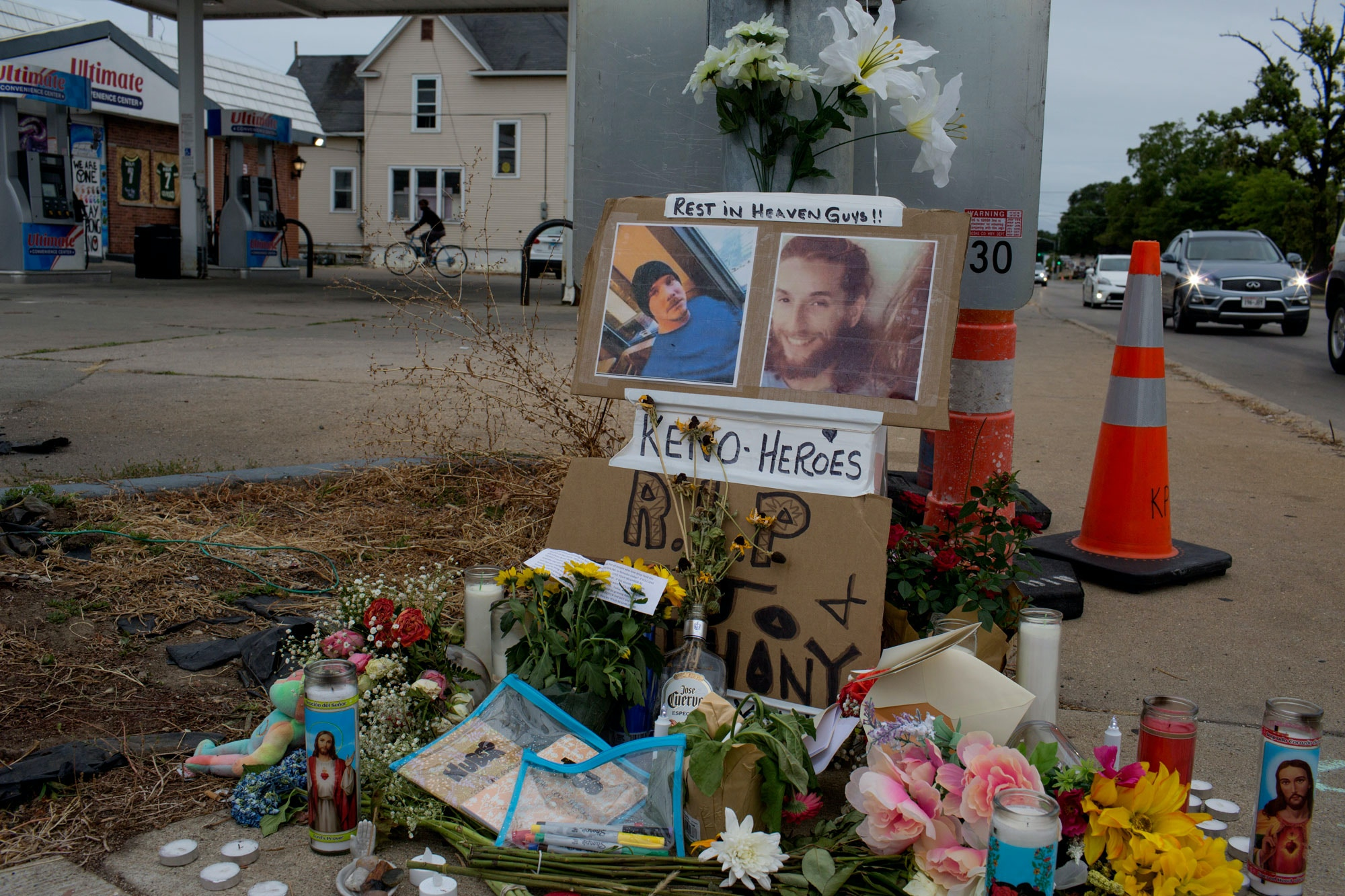 A small memorial decorates a lamp post near where Joseph Rosenbaum and Anthony Huber, two supporters of the Black Lives Matter movement, were shot and killed by a 17 year old militia member during a night of rioting, as seen on September 1, 2020, in Kenosha, Wisconsin.