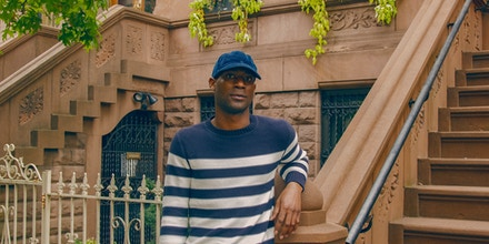 Terron Belle is photographed outside a brownstone in Harlem, N.Y., on Oct. 11, 2020.