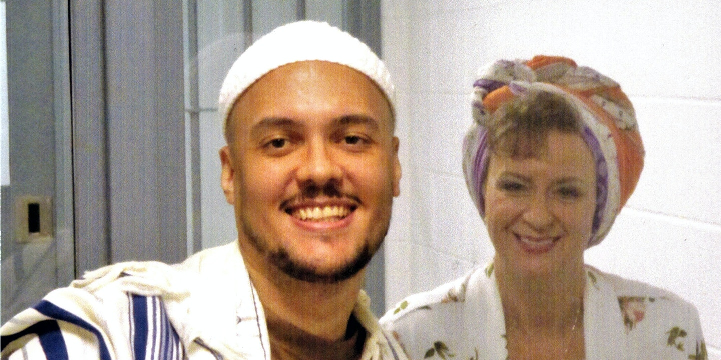 Lisa Brown visiting her son Christopher Vialva on federal death row in August 2020.