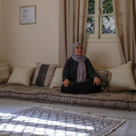 "Hiba Khoda is a Mother and professor who run a community space, called ""Al Makan"". She took the quiet room to be photographed."