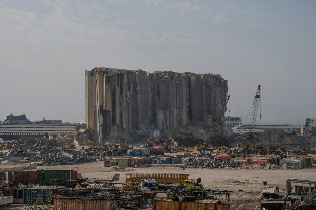 A view of what is left of the Port of Beirut, Quarantina two month after the blast on August 4th 2020