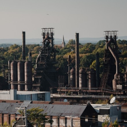 The Steel Stacks can be seen in Bethlehem, Pa., on Oct. 6, 2020. These were part of the old Bethlehem Steel factory and is now part of a large development site called Bethlehem Works.