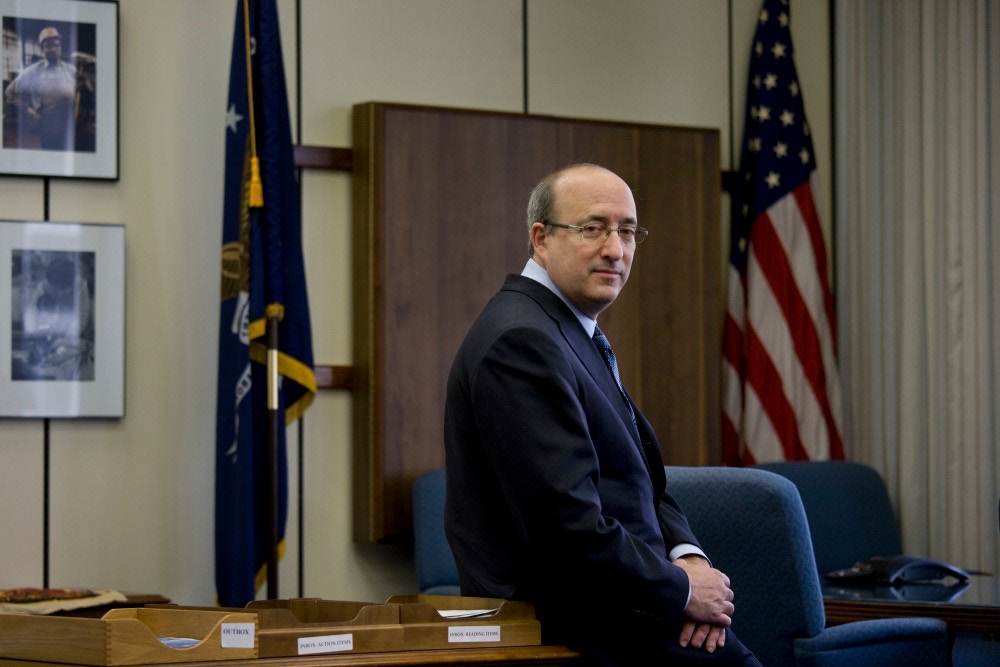 David Michaels, assistant secretary of the Occupational Safety and Health Administration at the U.S. Department of Labor, in his office in Washington, on May 14, 2010. Employees in many of the biotechnology labs work amid imponderable hazards, but the labs are often subjected to fewer federal safety regulations than a typical blue-collar factory. (Daniel Rosenbaum/The New York Times)