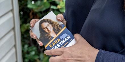 Kara Eastman campaigns in Omaha, Nebr. on Aug. 20, 2018.