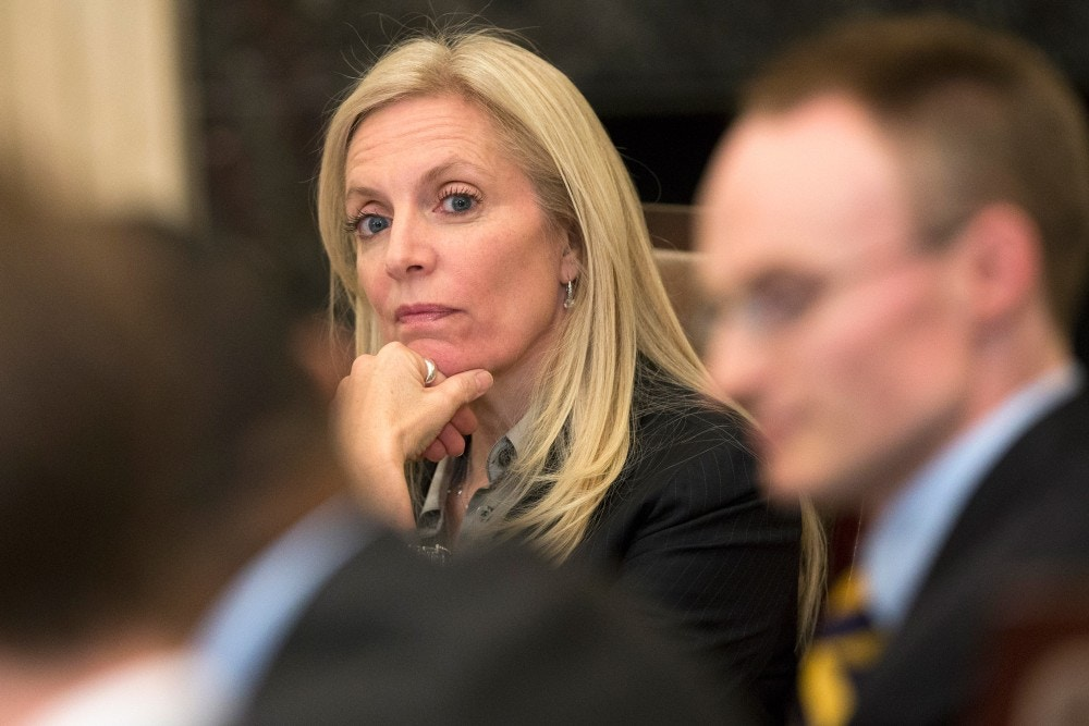 Federal Reserve Board of Governors member Lael Brainard listens to a presentation during a meeting of the Board of Governors of the Federal Reserve, Friday, Oct. 30, 2015, in Washington. The meeting was to discuss a proposed rule establishing total loss-absorbing capacity and long-term debt requirements for global systemically important banking organizations, as well as a final rule on margin and capital requirements for uncleared swaps of prudentially regulated swap entities. (AP Photo/Evan Vucci)