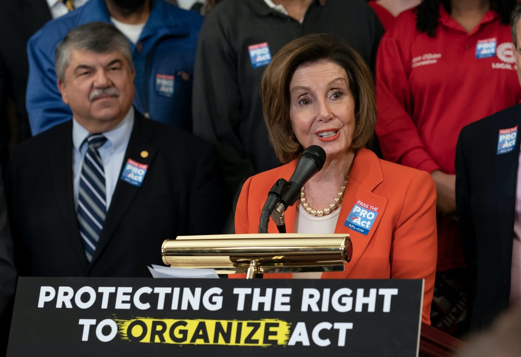 Speaker of the House Nancy Pelosi, D-Calif., joined at left by AFL-CIO President Richard Trumka, speaks during a news conference about the Protecting the Right to Organize (PRO) Act at the Capitol in Washington, Wednesday, Feb. 5, 2020. (AP Photo/J. Scott Applewhite)