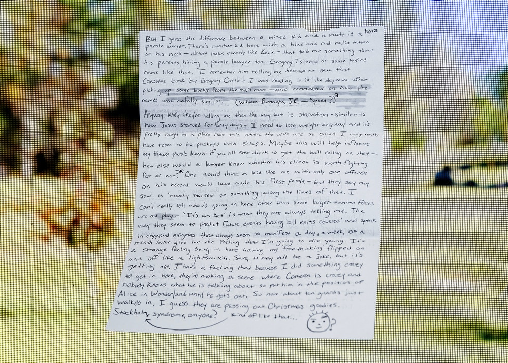 A letter sent by Cameron Davis to his mother, Michelle Durden, from prison in Texas. Photograph taken in Jacksonville, North Carolina on November 16, 2020.
