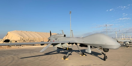 US army drones at the Ain al-Asad airbase in the western Iraqi province of Anbar shown during a press tour organised by the US-led coalition fighting the remnants of the Islamic State group on January 13, 2020.