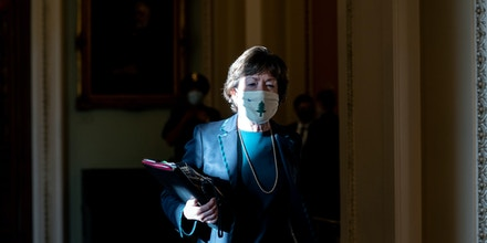 WASHINGTON, DC - OCTOBER 20:  U.S. Sen. Susan Collins (R-ME) leaves the Senate floor on Capitol Hill on October 20, 2020 in Washington, DC. Republicans are looking to hold a confirmation vote on Supreme Court nominee Amy Coney Barrett on Monday, approximately one week before the presidential election.  (Photo by Stefani Reynolds/Getty Images)