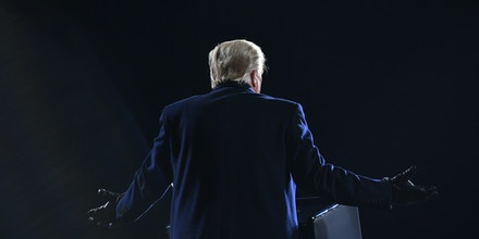 US President Donald Trump gestures as he speaks during a rally at Williamsport Regional Airport in Montoursville, Pennsylvania on October 31, 2020. (Photo by MANDEL NGAN / AFP) (Photo by MANDEL NGAN/AFP via Getty Images)