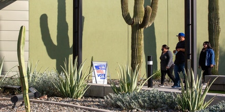 Voters arrive at the Eloy City Hall polling location on November 3, 2020 in Eloy, Arizona.