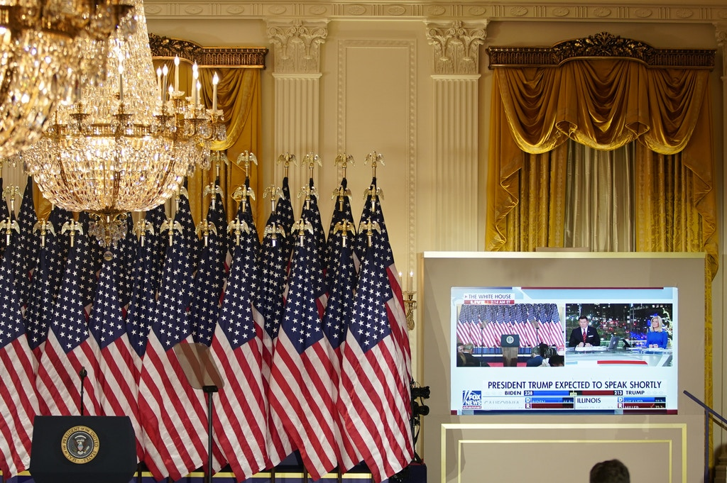 Fox News election night coverage is displayed on a monitor during a party in the East Room of the White House in Washington, D.C., U.S., on Wednesday, Nov. 4, 2020. Donald Trump said on Twitter that he was ahead in the presidential election and that Democrats were trying to steal the election as Joe Biden said he feels good about his chances to win the presidency, cautioning supporters early Wednesday morning that it would take time to finish counting the votes. Photographer: Al Drago/Bloomberg via Getty Images