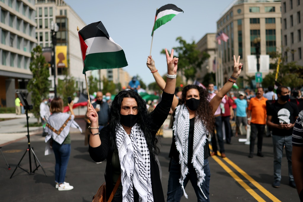 Protesters from multiple Palestinian rights organizations demonstrate outside the White House on September 15, 2020 in Washington, DC.