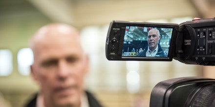 BOZEMAN, MT - APRIL 22: Republican Greg Gianforte campaigns for the Montana House of Representatives seat vacated by the appointment of Ryan Zinke to head the Department of Interior on April 22, 2017 in Bozeman, Montana. Donald Trump Jr. appeared at the event to support Gianforte who is running against democrat Rob Quist in the special election to be held on May 25, 2017. (Photo by William Campbell/Corbis via Getty Images)