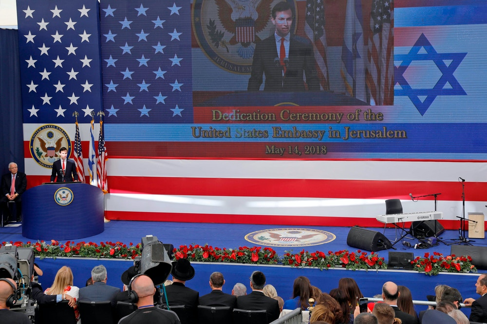 Senior White House Advisor Jared Kushner delivers a speech during the opening of the US embassy in Jerusalem on May 14, 2018. - The United States moved its embassy in Israel to Jerusalem after months of global outcry, Palestinian anger and exuberant praise from Israelis over President Donald Trump's decision tossing aside decades of precedent. (Photo by Menahem KAHANA / AFP)        (Photo credit should read MENAHEM KAHANA/AFP via Getty Images)