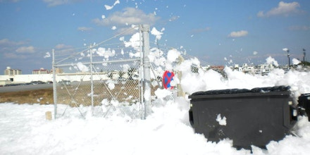 On Kadena Air Base, Okinawa prefecture, an accident blamed on a malfunctioning sprinkler system discharged tens of thousands of liters of firefighting foam in December 2013.