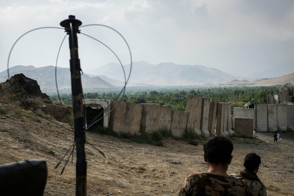Inside an Afghan National Police checkpoint on the outskirts of Maidan Shahr, the capital of Wardak Province, which has come under increased pressure from the Taliban since the insurgent group signed a peace deal with the U.S. government in February.