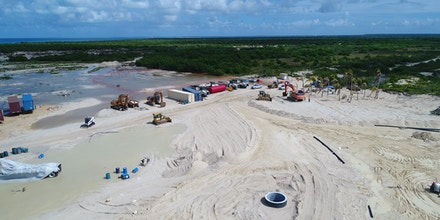 An aerial view of the construction site is seen on Ramsar-listed Codrington Lagoon National Park in Barbuda, on Oct. 10, 2020.